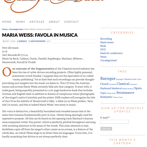 Maria Weiss: favola in musica | early music review